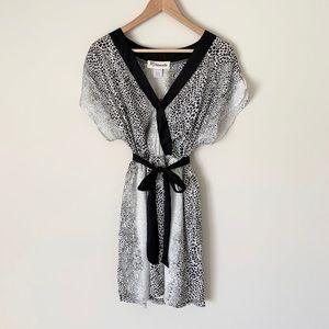 Francesca's Paraella Dot Print Tie Mini Dress